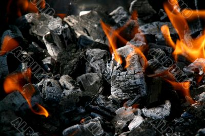 Charcoal with fire