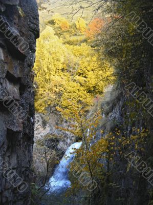 Honey waterfalls and autumn. The North Caucas.