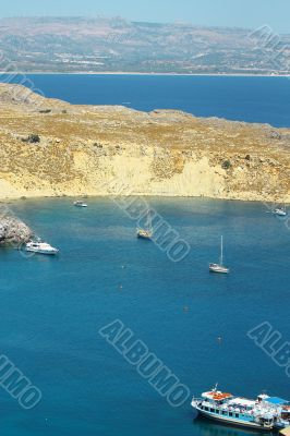 Scenic view of Lindos bay