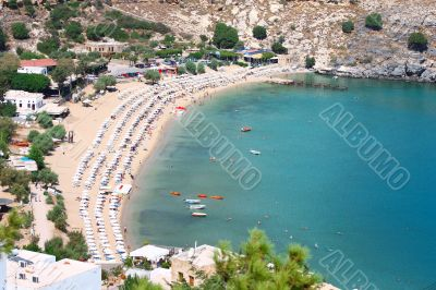 View from above of the main beach in Lindos