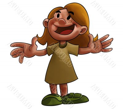 Happy cartoon girl
