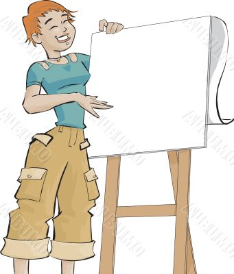 girl and a flip chart