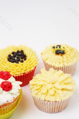 Variety of cupcakes with decorative techniques