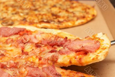 Tasty italian pizza with bacon and cheese