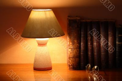 Desk Lamp And Old Books