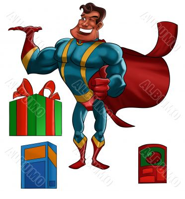 Super hero with products