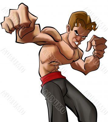 Cartoon martial art fighter