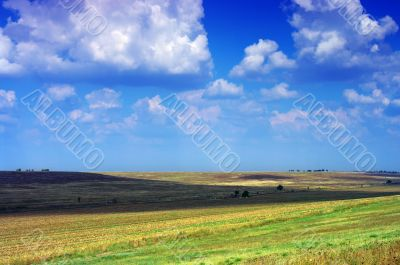 Amazing mountains and fields with blue sky