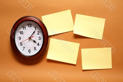 Adhesive Notes And Clock