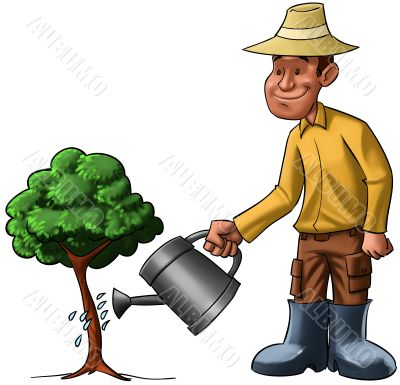 man and young tree