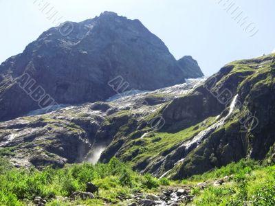 Caucasus waterfall. Dombay. Sufrudju.