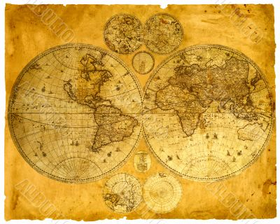 Old paper world map.