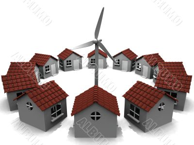 wind generator and houses