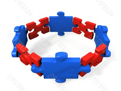 red and blue puzzle