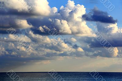 Image with sea and cloudiness sky