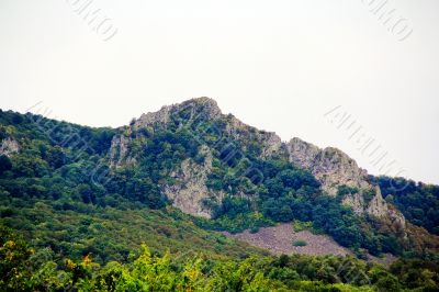 Summer landscape with Caucasus green mountains