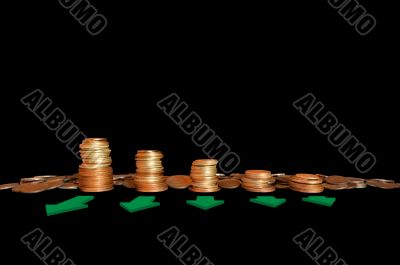 Coins in stacks with arrows