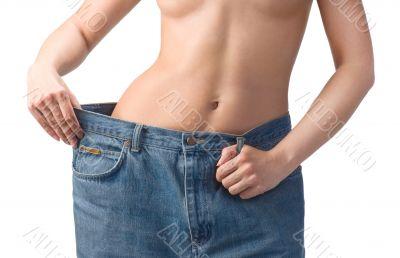 Slim waist. Girl`s torso