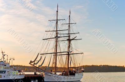 Tall ship at pier  Oslo Fjord