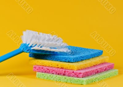 Brush and multi color sponges