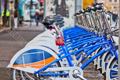 City bicycles  in line