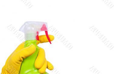 Hand in glove with sprayer