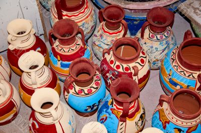 Colorful clay jars