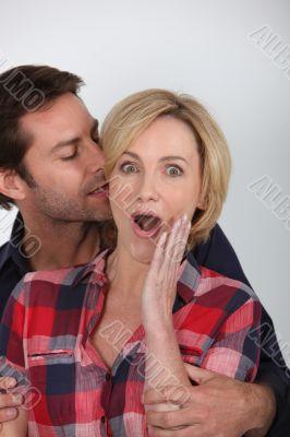 Wife looking surprised