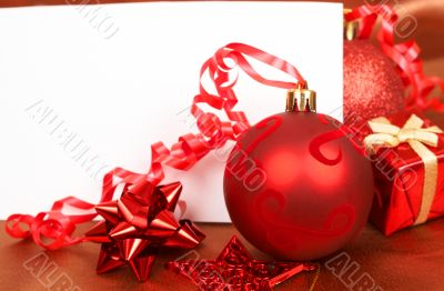 Red Christmas decorations and card