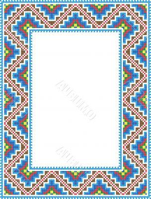vector folk Rectangular Frame Cross-stitch blue