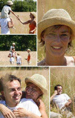Collage of a family walking in a field