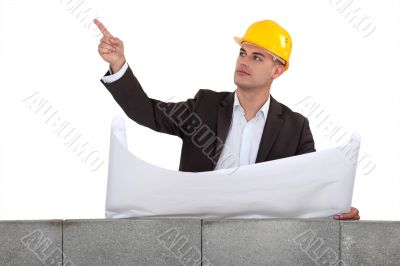 Engineer pointing to an area