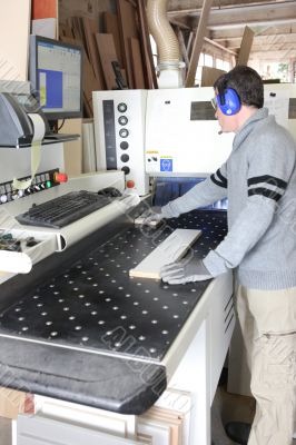 Engineer preparing wood