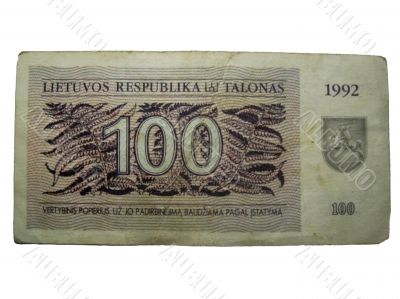 Lietuvos respublika 100 talonas. Temporary currency 1992