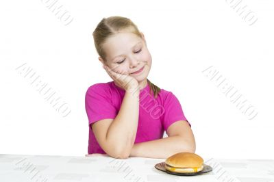 girl eats isolated on the white