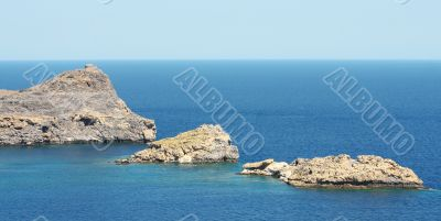 Mountain in Lindos Bay. Greece