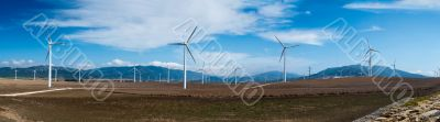 Windmills in summer landscape of Andalucia, Spain, Europe