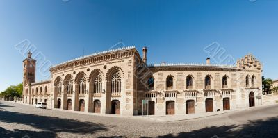 Building of train station in Toledo, Spain. Panoramic view