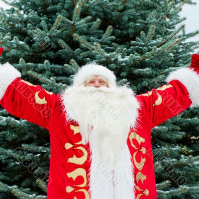 Portrait of Santa Claus standing with open hands outdoors at chr
