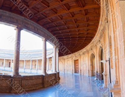 Charles V palace gallery on second floor. Alhambra, Granada, Spa