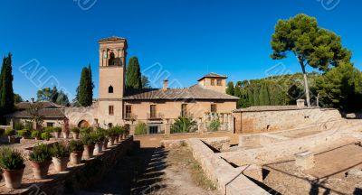 Alhambra de Granada. Convento de San Francisco behind a pond