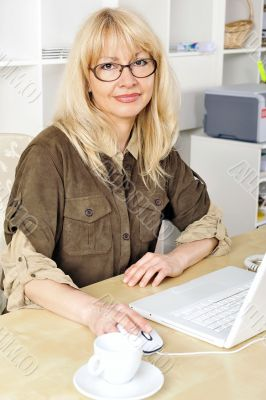 Portrait of a businesswoman at her computer.