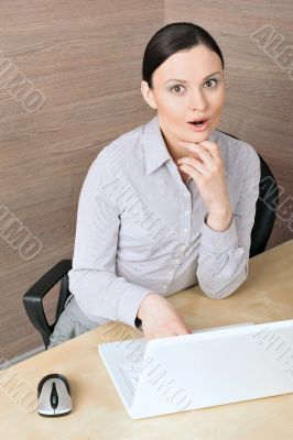 Portrait of a beautiful young businesswoman on the computer, loo