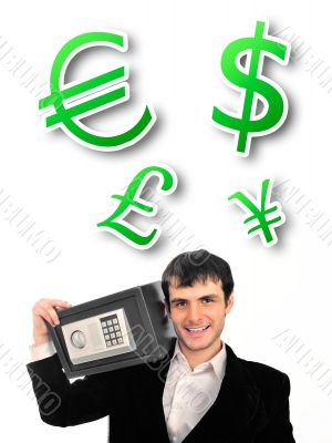 Portrait of young businessman holding metal safe