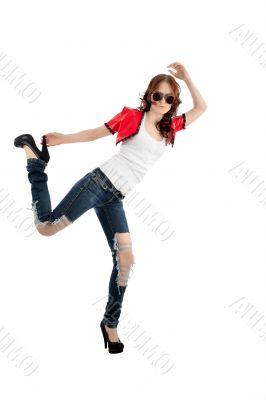 Young trendy woman isolated on white background.