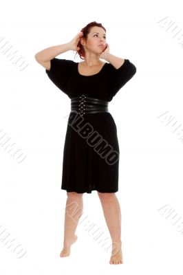 Young girl in black dress on white backgroung