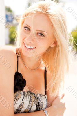 Closeup portrait shot of a young, beautiful, blond, fashionable