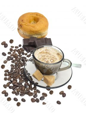 Cappuccino, donut, brown sugar and coffee beans on white backgro