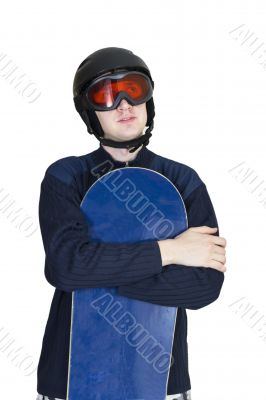 Portrait of handsome man in sportswear with snowboard isolated o