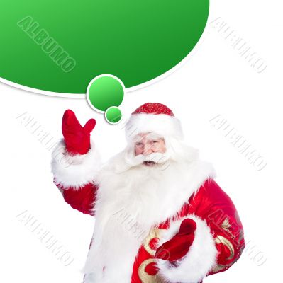 Santa Claus pointing his hand isolated over white. Blank graphic